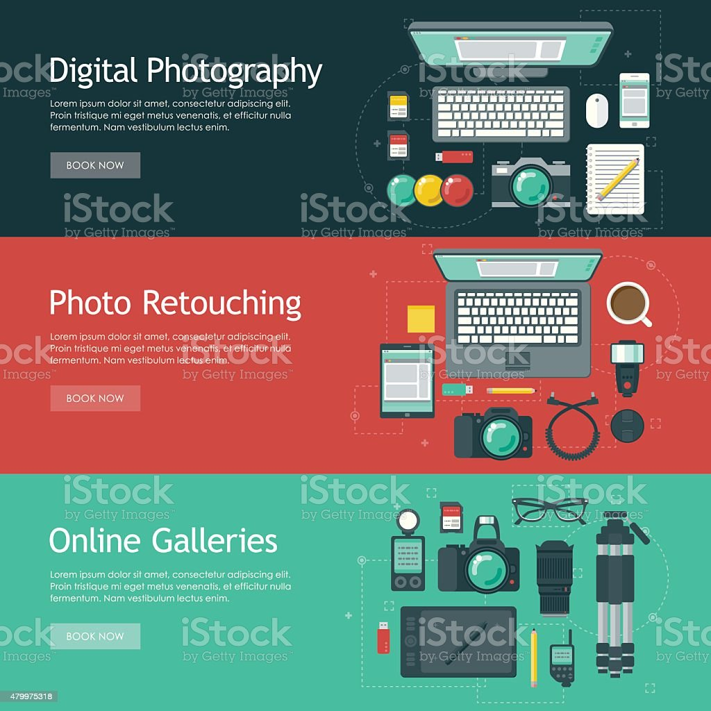Photography Flat Design Web Banners Icon Sets vector art illustration