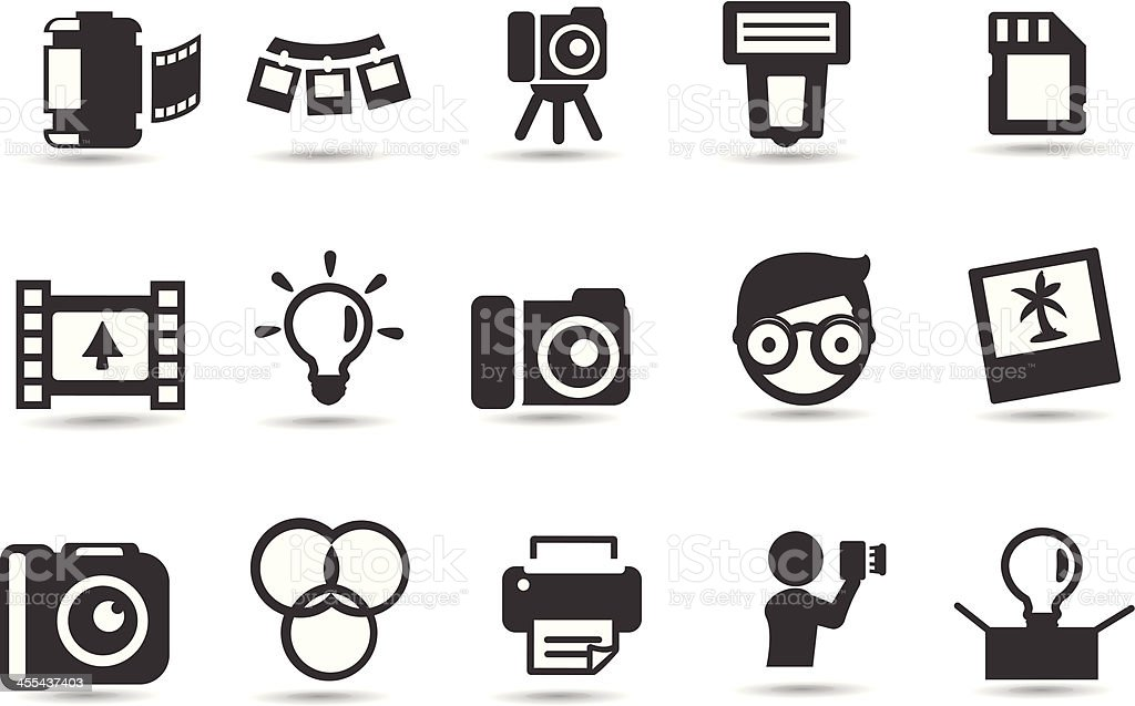 Photography Icon Set vector art illustration
