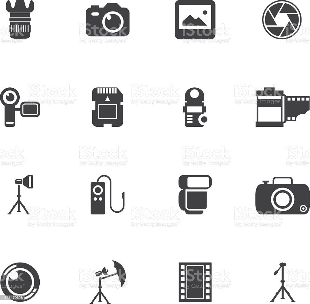 Photography Icon Set vector art illustration