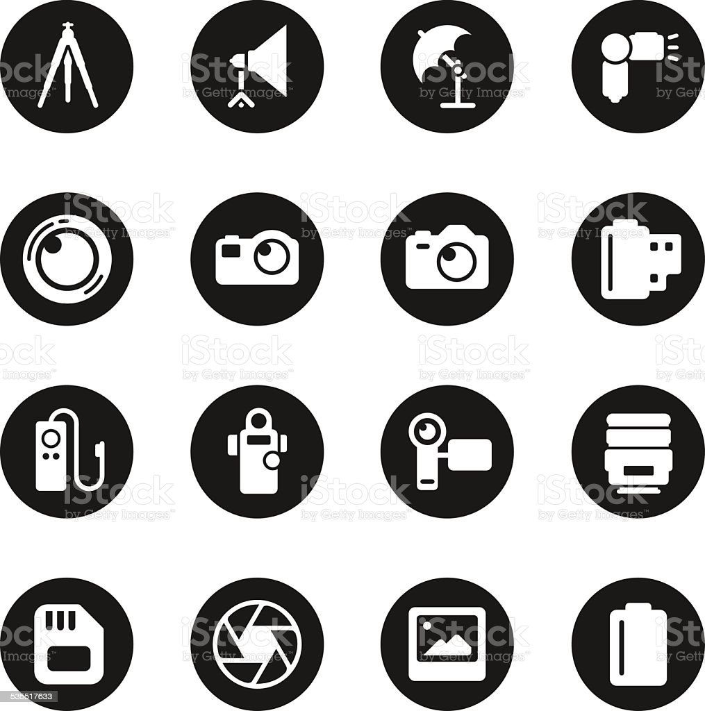 Photography Icons - Black Circle Series vector art illustration