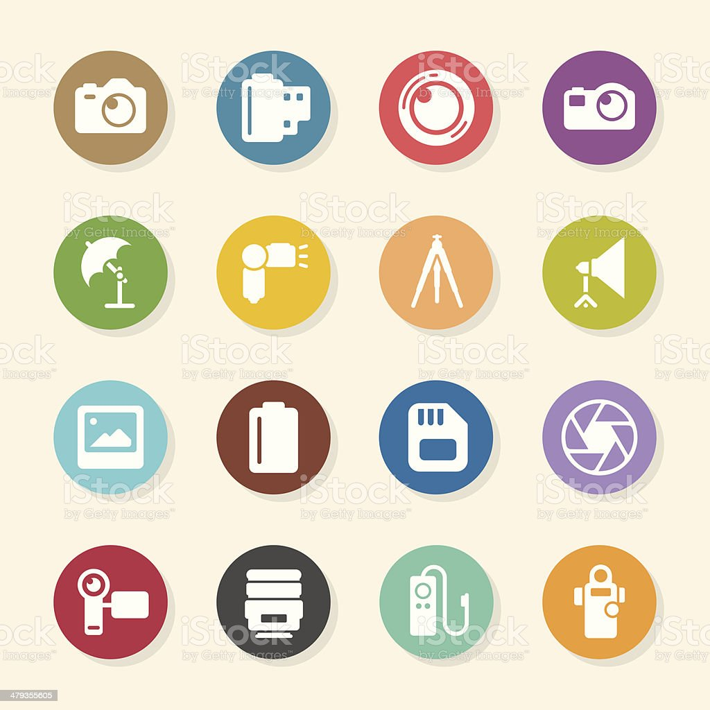 Photography Icons - Color Circle Series vector art illustration