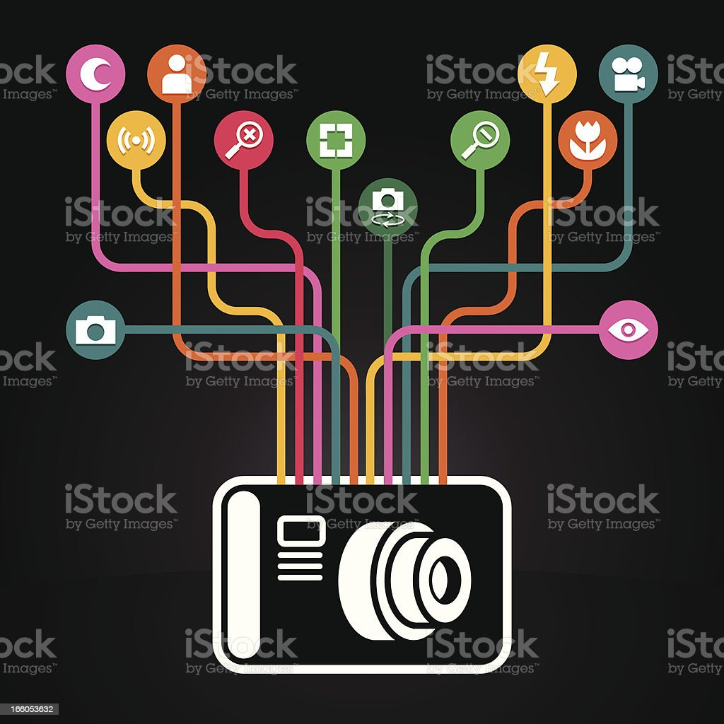 Photography icons coming out from a camera royalty-free stock vector art