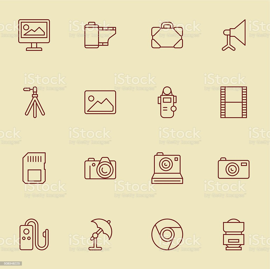 Photography Icons - Light Color vector art illustration