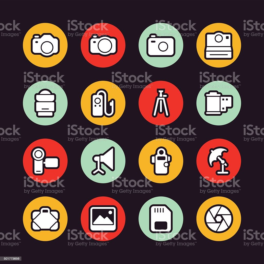 Photography icons - Regular Outline - Circle vector art illustration
