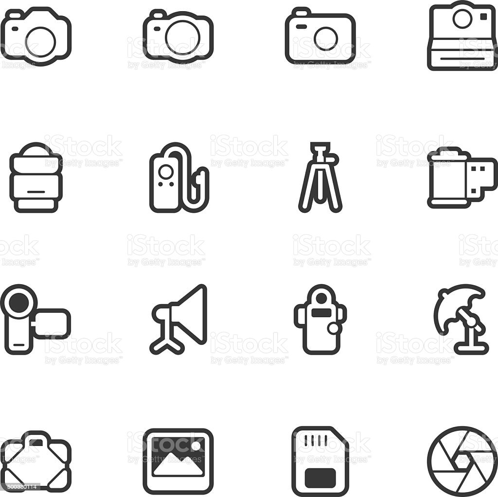Photography icons - Regular Outline vector art illustration