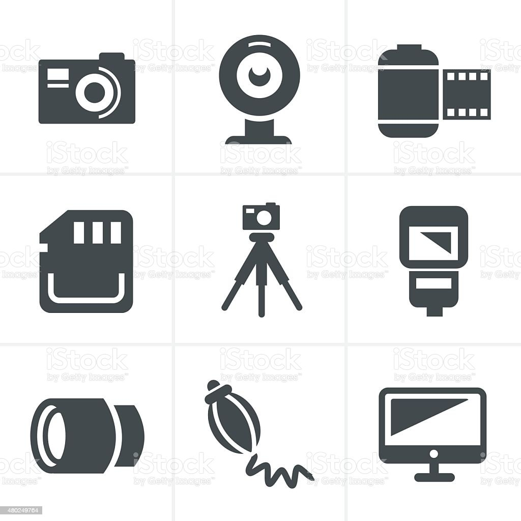 Photography Icons Set, Vector Design vector art illustration
