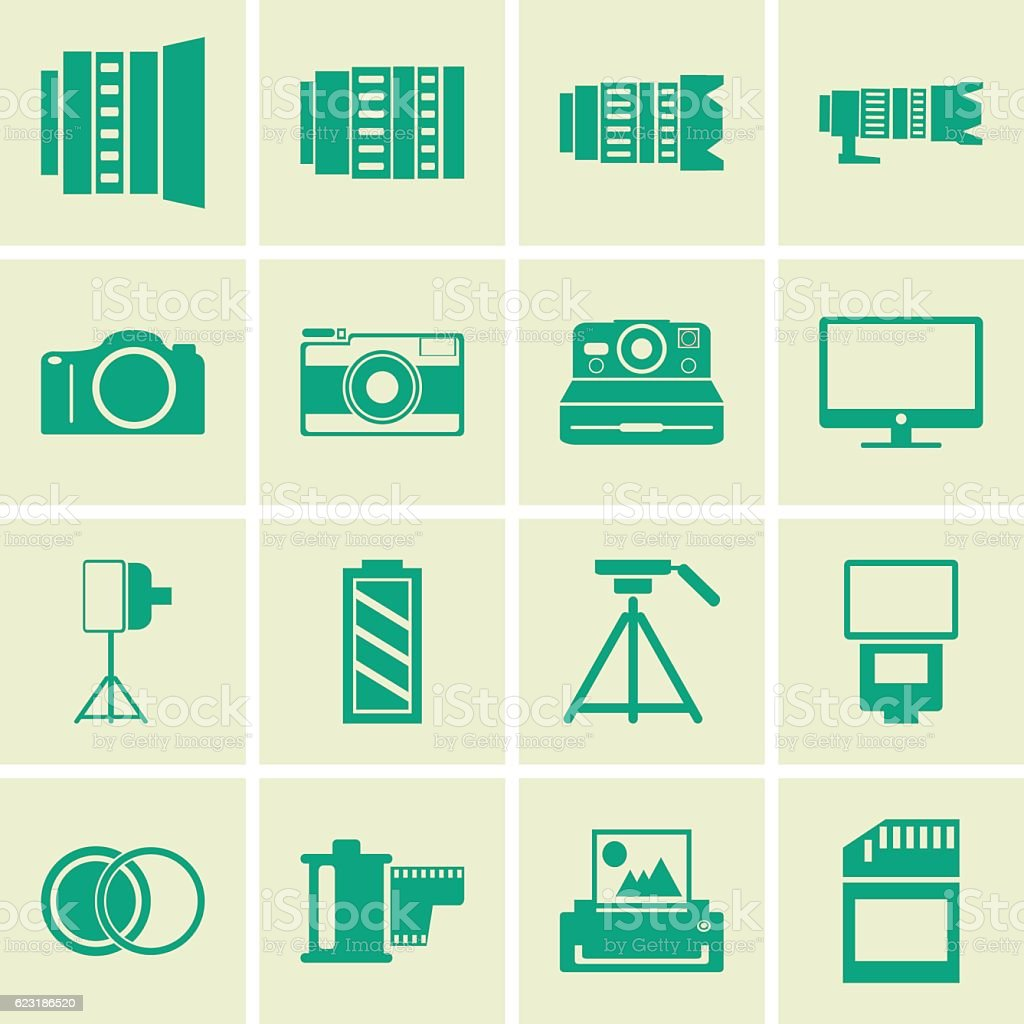 Photography icons vector art illustration