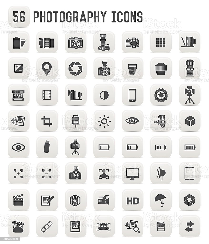 Photography icons,black buttons royalty-free stock vector art