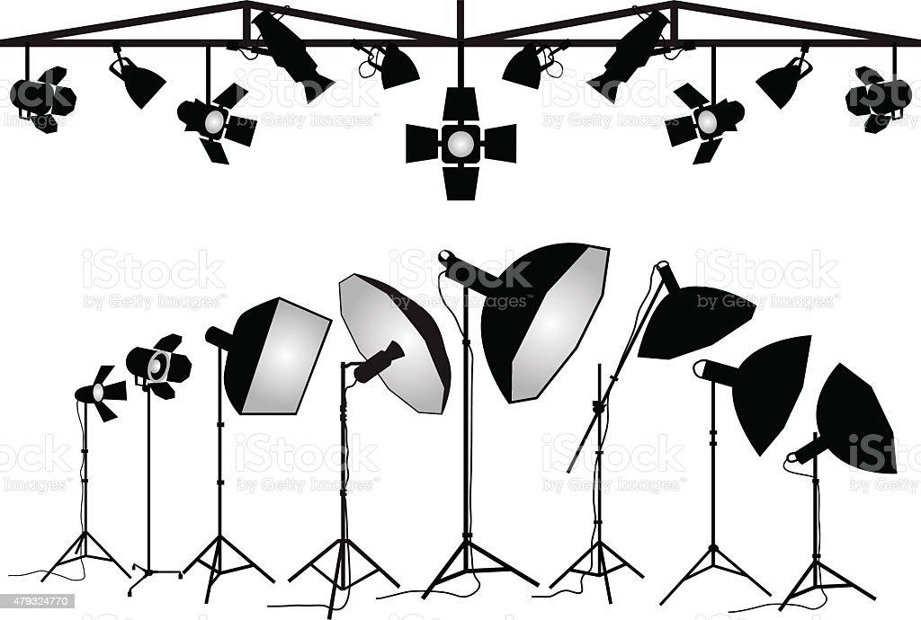 Photography lighting equipment, vector set vector art illustration