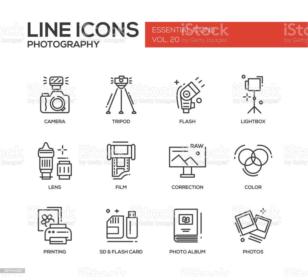 Photography line design icons set vector art illustration