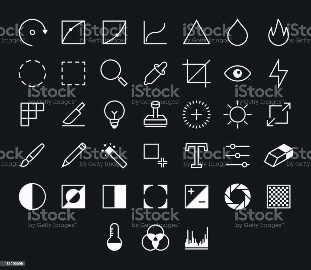 Photography Outline vector icons for web and mobile vector art illustration