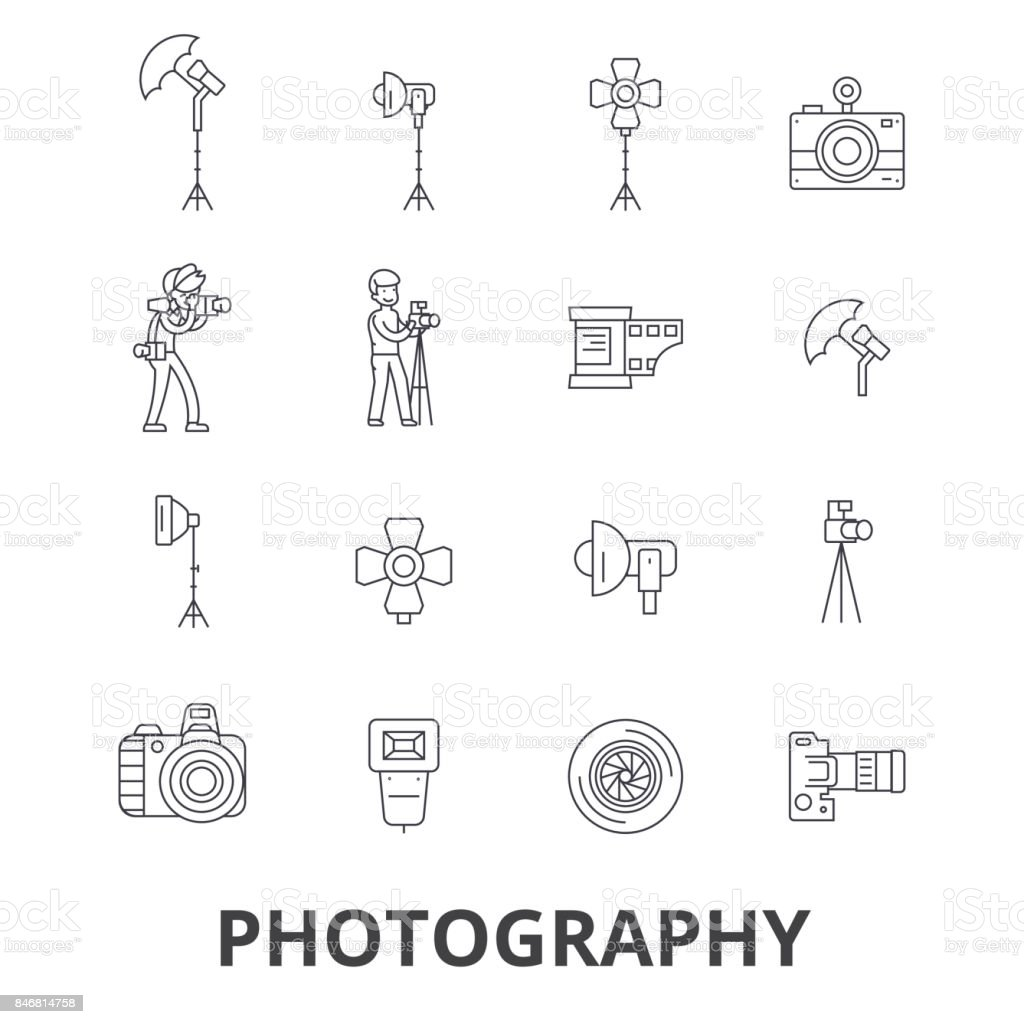 Photography, photographer, camera, photo studio, frame, camera lens, polaroid line icons. Editable strokes. Flat design vector illustration symbol concept. Linear signs isolated vector art illustration