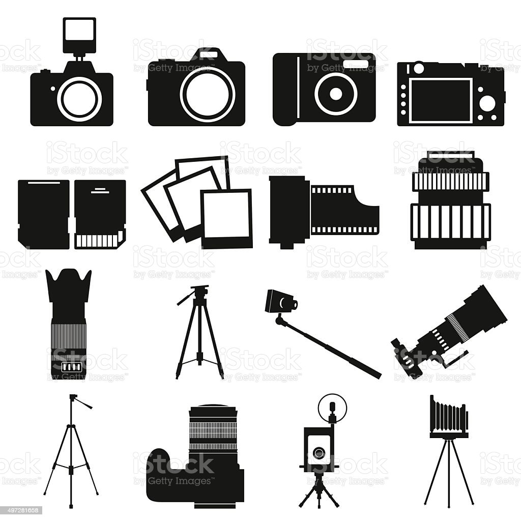 Photography simple icons vector art illustration