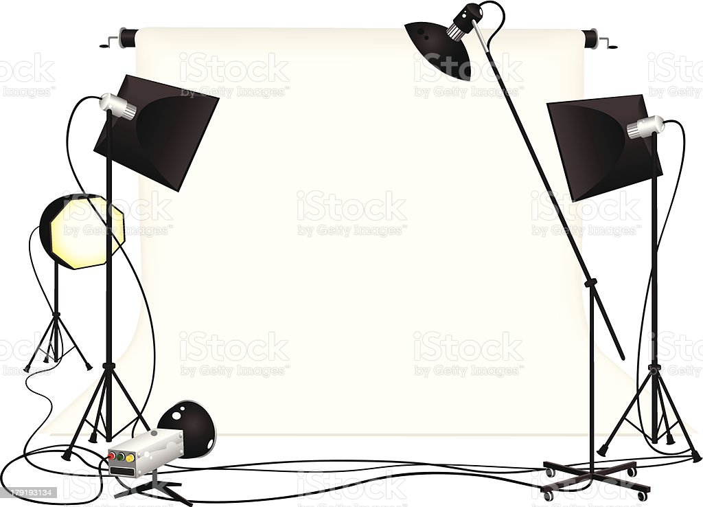 Photography studio and lighting equipment vector art illustration