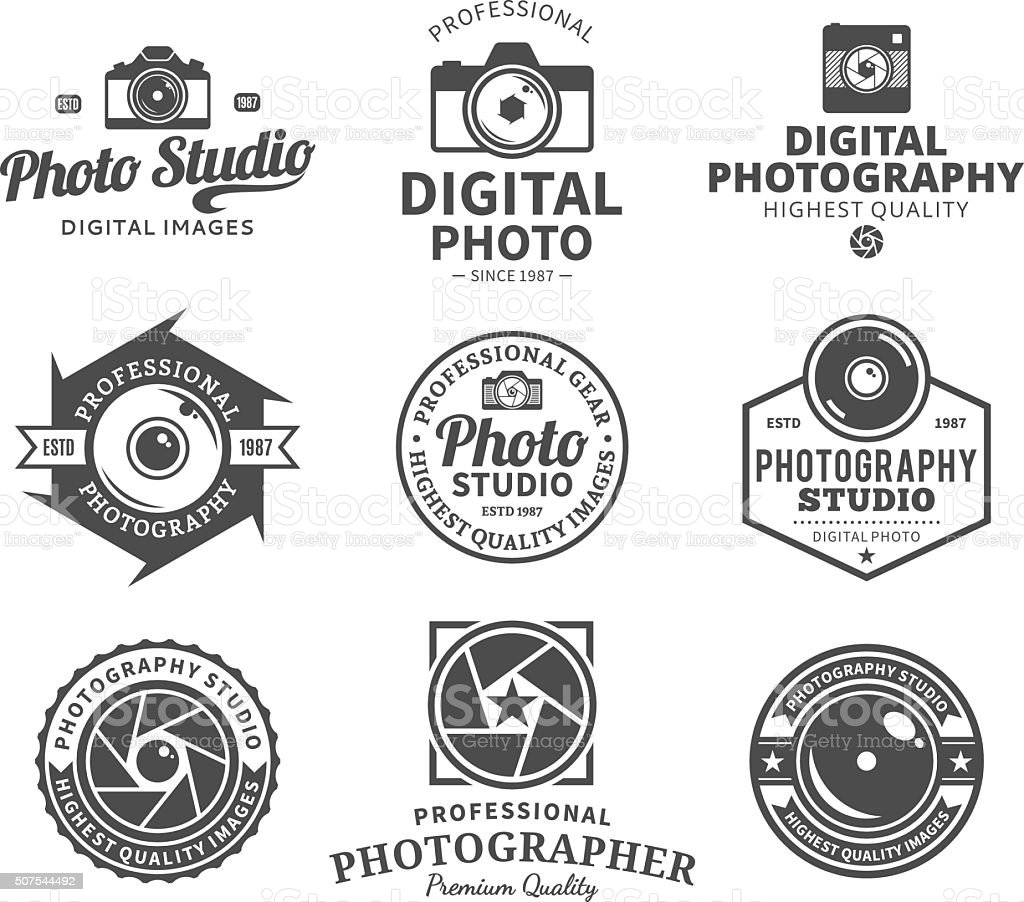 Photography Studio Labels, Icons and Design Elements vector art illustration