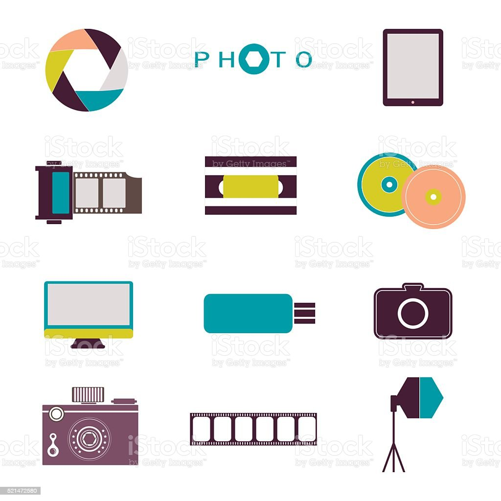 Photography vintage retro icons, badges and labels set vector. vector art illustration