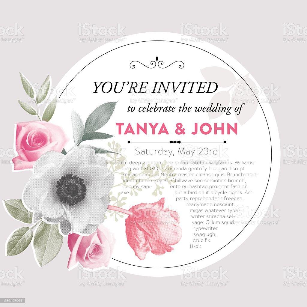 Photoreal Flowers Invitation Frame vector art illustration