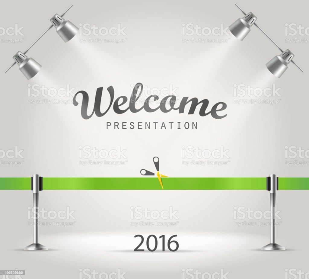 Photorealistic bright stage with projectors vector art illustration