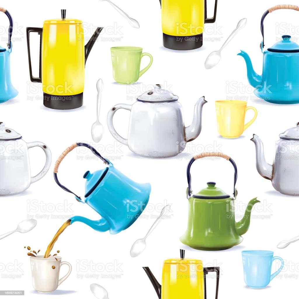 Photorealistic Coffee Pots, Teapots and kettles royalty-free stock vector art
