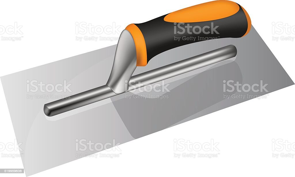 Photorealistic plastering trowel with plastic handle vector art illustration