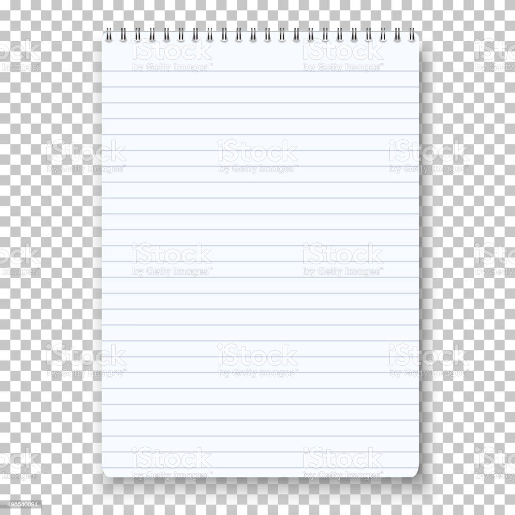 Photorealistic Vector Notepad Isolated on Transparent Background vector art illustration