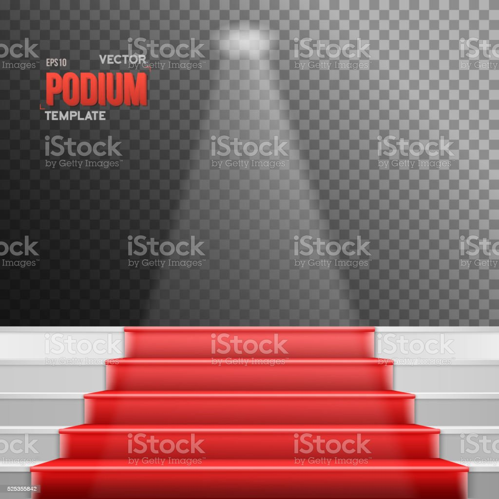 Photorealistic Vector Stairs Podium with Red Carpet and Bright L vector art illustration