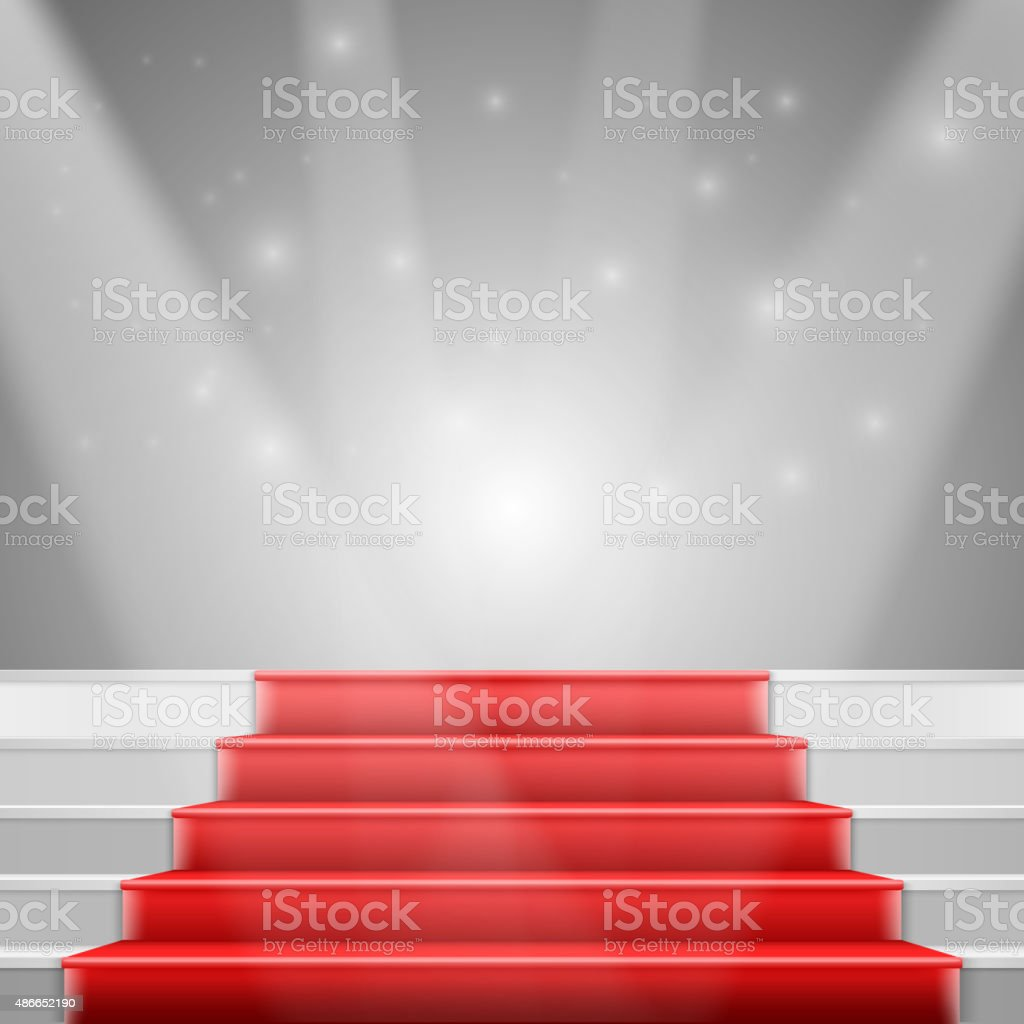 Photorealistic Vector Stairs with Red Carpet and Bright Luxury vector art illustration
