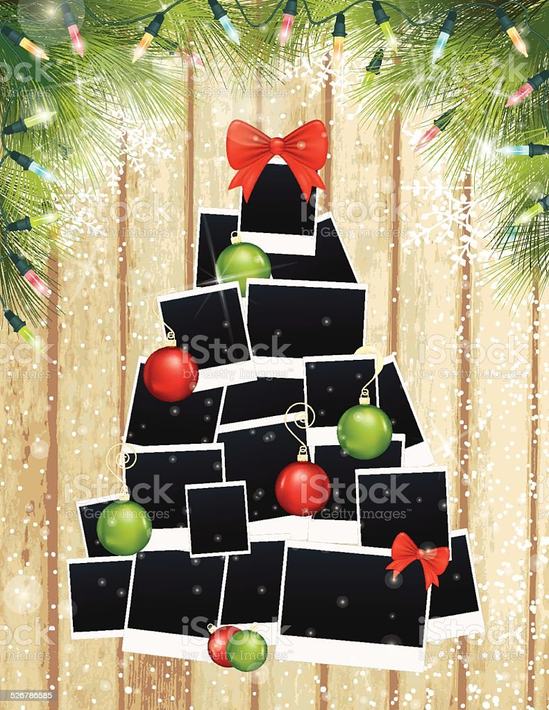 Photos Christmas Tree and Evergreens On Wood Background vector art illustration