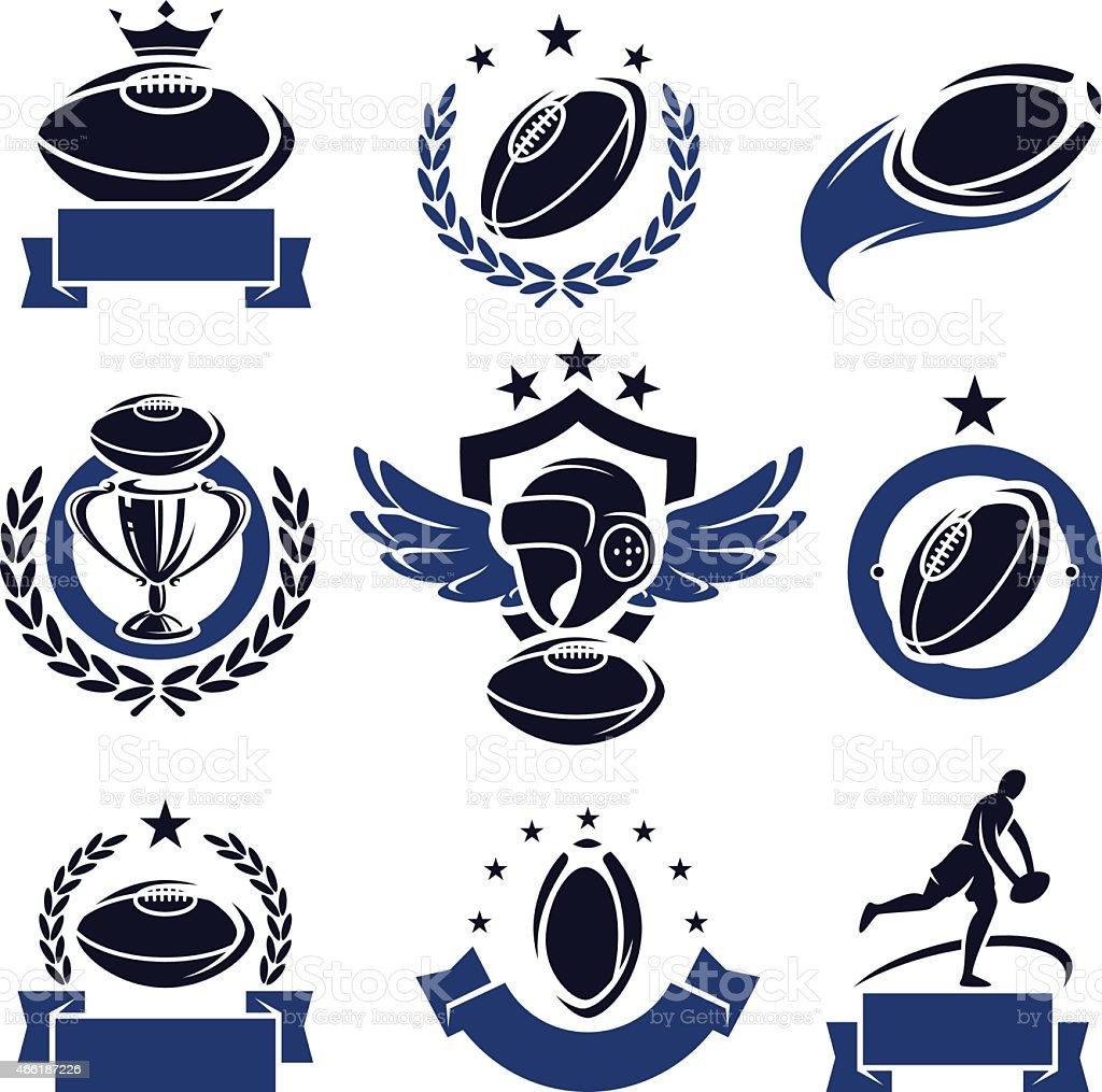 Photos of rugby icons in a set with blue and black vector art illustration