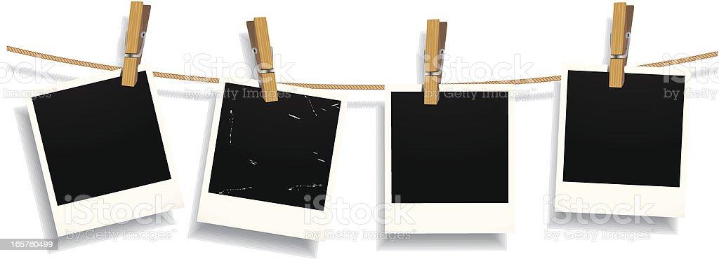 Photos on a Clotheline vector art illustration