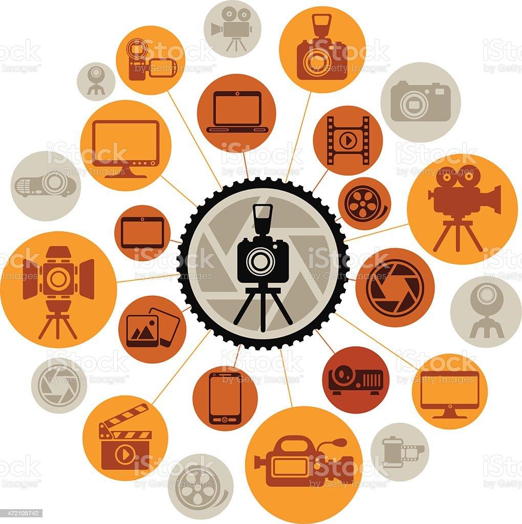 Photo-Video Montage vector art illustration