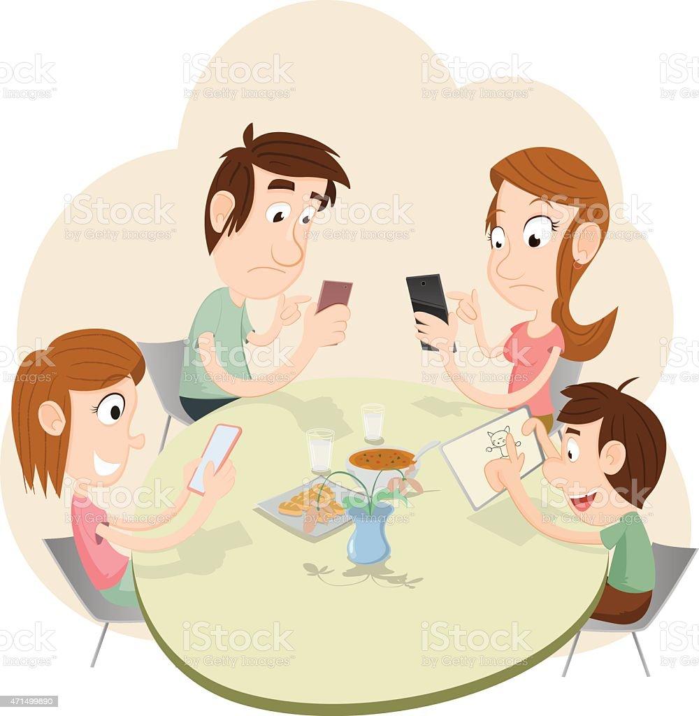 Phubbing Family Illustration vector art illustration