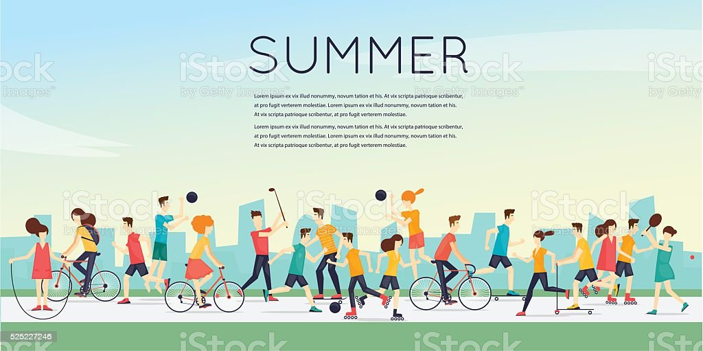 Physical activity people engaged in outdoor sports vector art illustration
