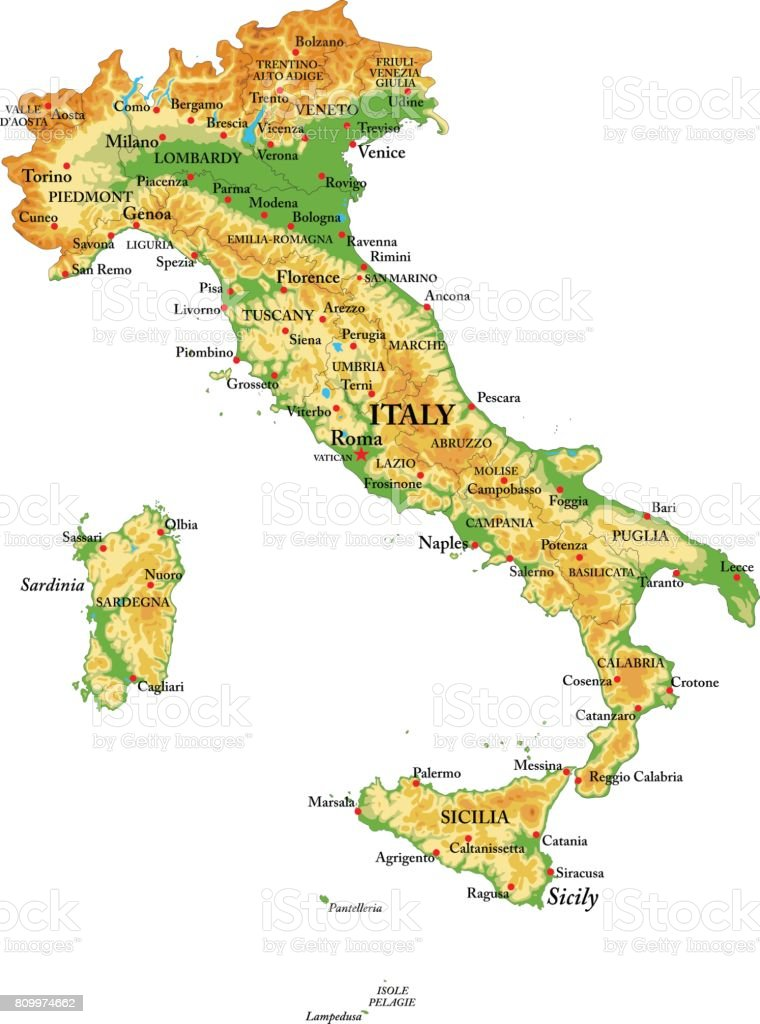 Physical map of Italy vector art illustration