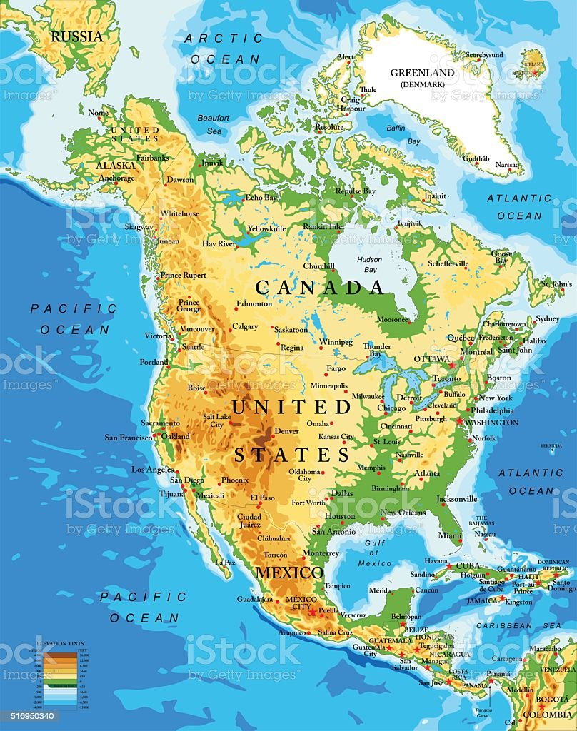 Physical map of North America vector art illustration