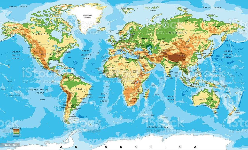 Physical map of the world vector art illustration