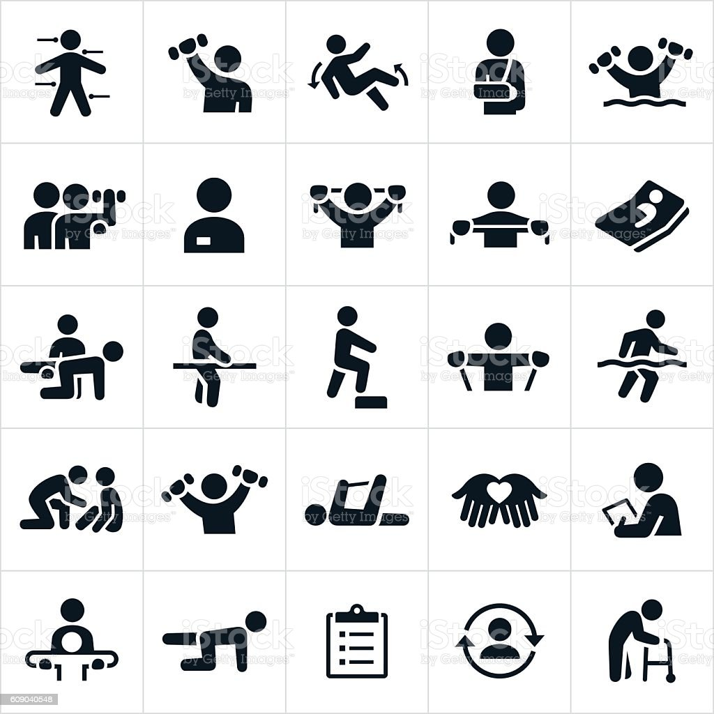 Physical Therapy Icons vector art illustration