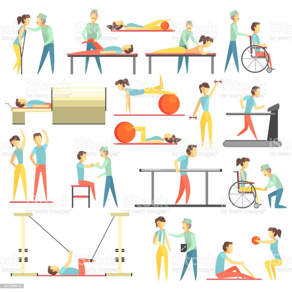 Physical Therapy Infographic Illustration vector art illustration