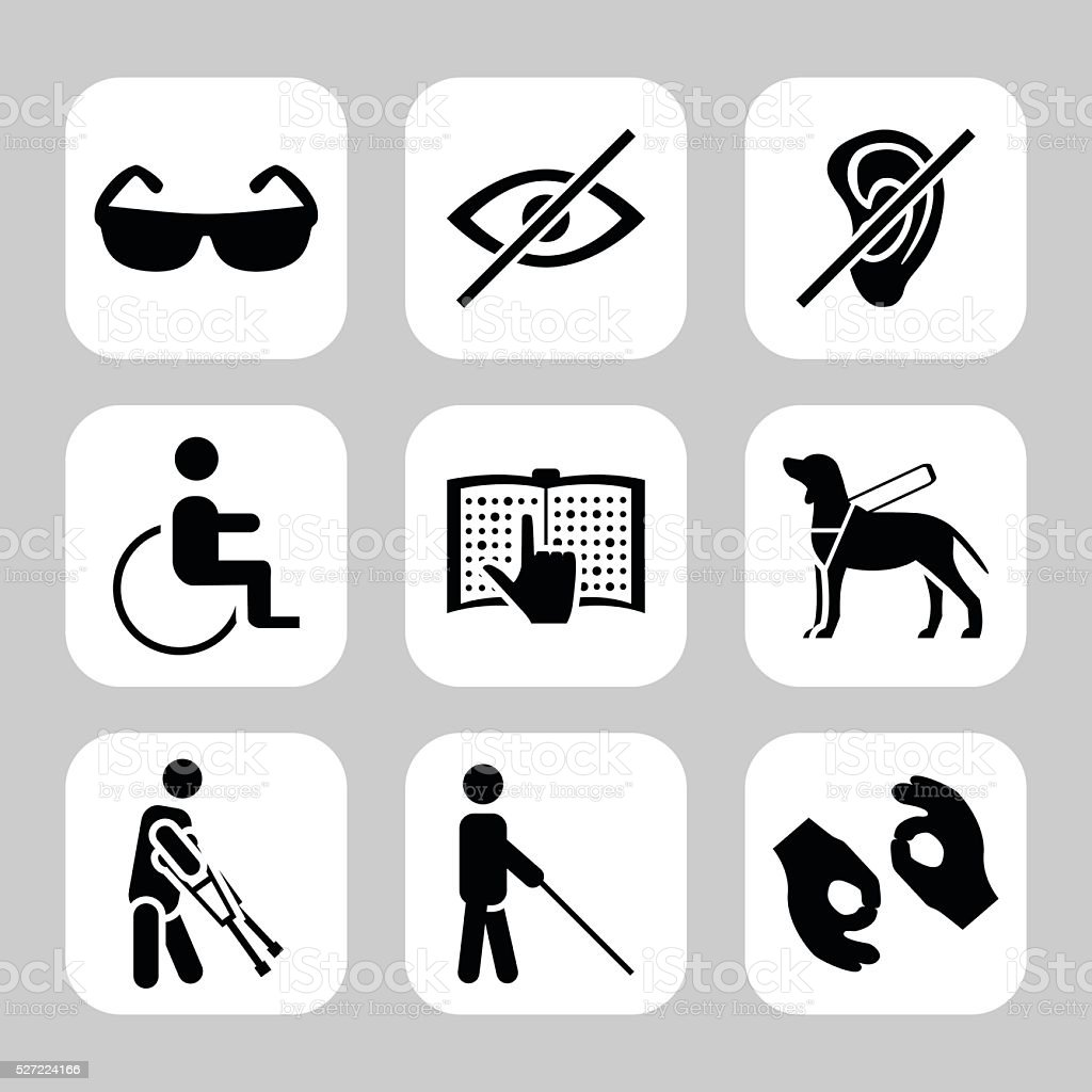 Physically disability related vector icon set. Vector symbols. Vector illustration vector art illustration