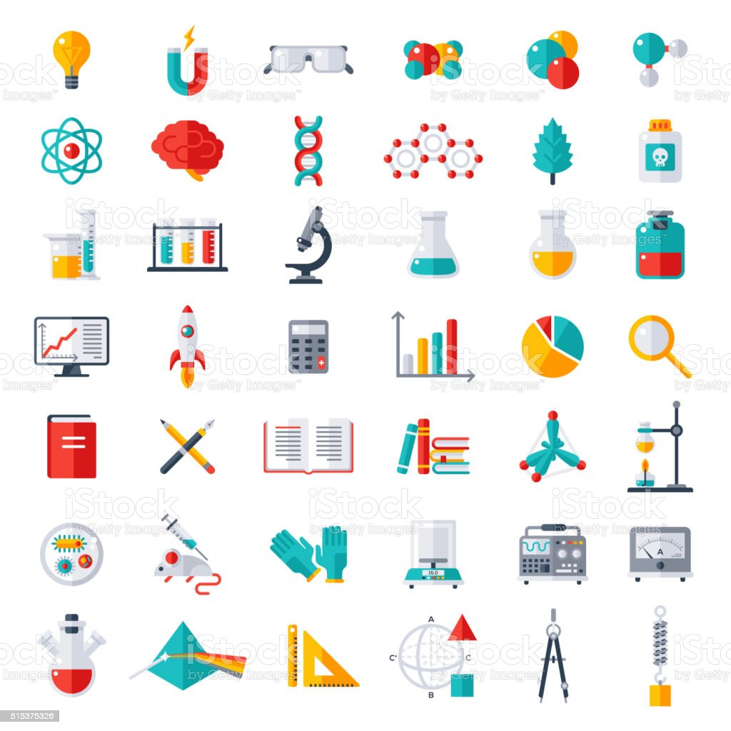 Physics, Chemistry, Biology Icons Set vector art illustration