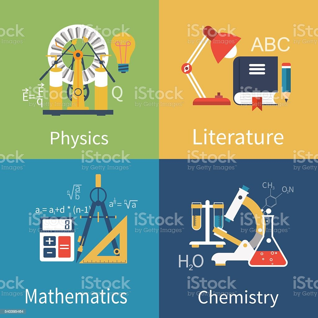 Physics, chemistry, math, literature vector art illustration