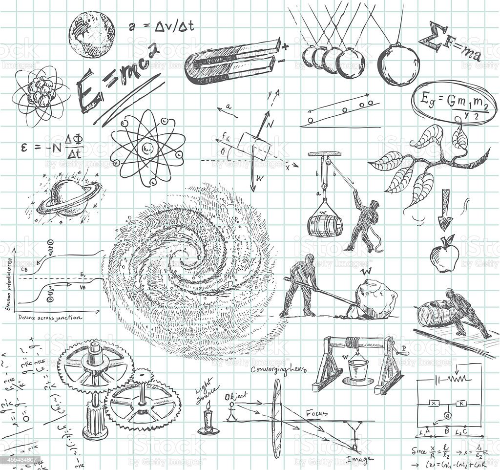 Physics doodle vector art illustration
