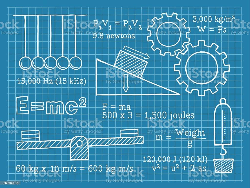 Physics, Science, School, Blueprint vector art illustration