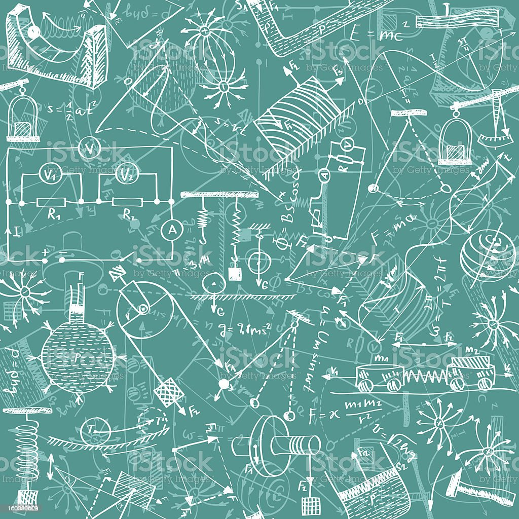 Physics seamless pattern vector art illustration