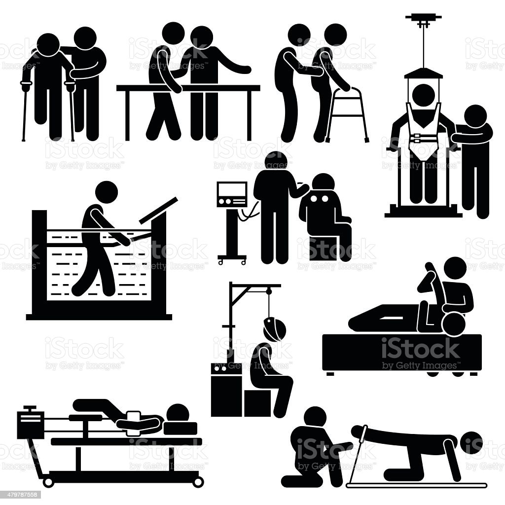 Physio Physiotherapy and Rehabilitation Treatment Stick Figure Pictogram Icons vector art illustration