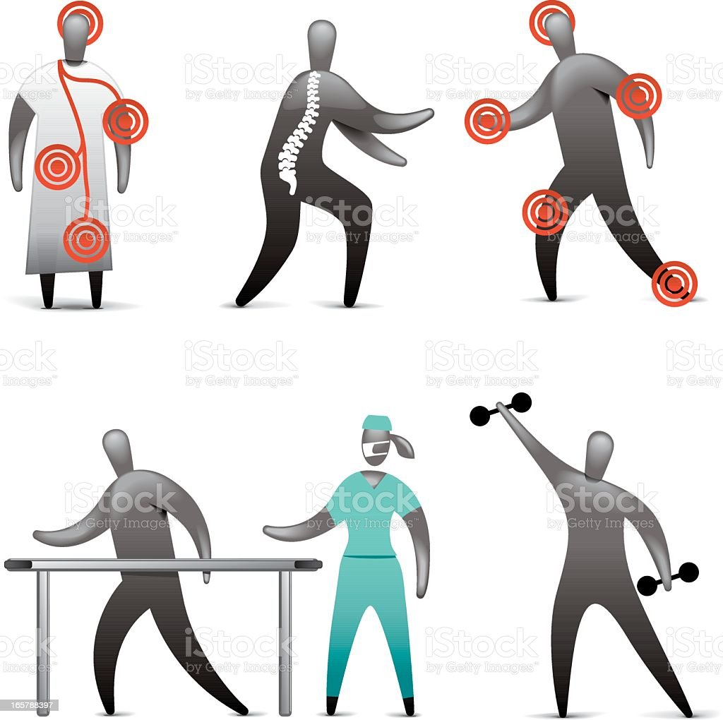 Physiotherapy Icon Set royalty-free stock vector art