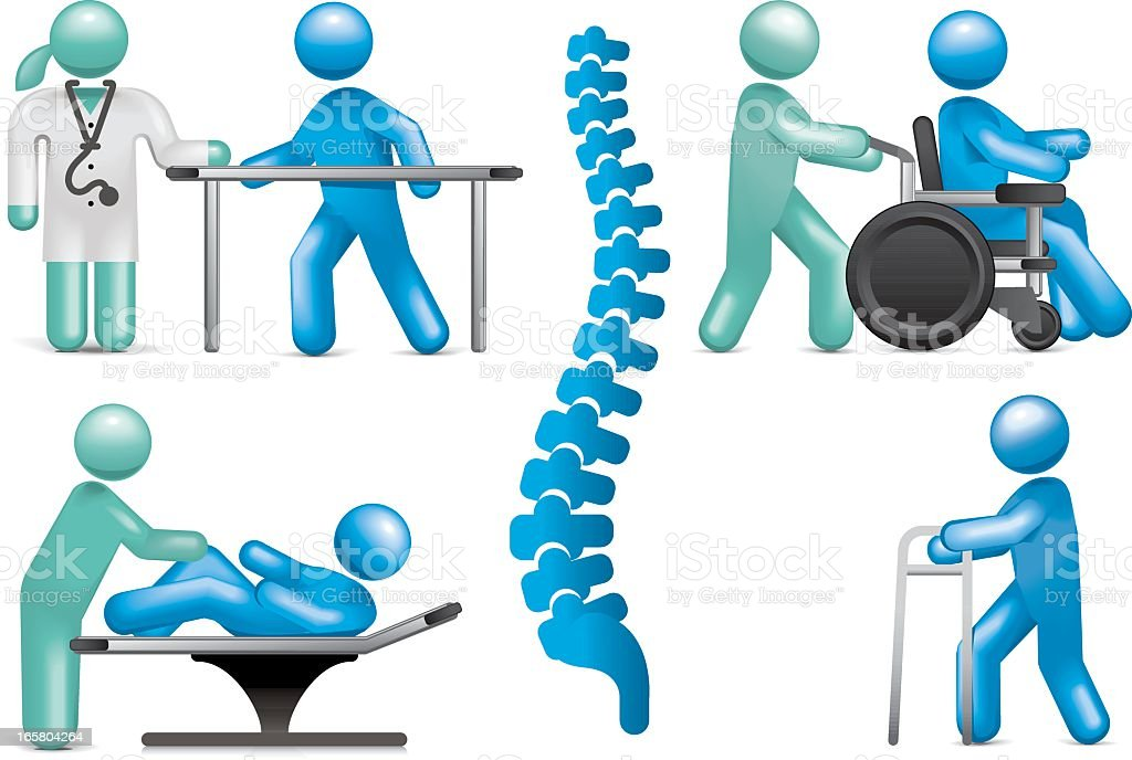 Physiotherapy Icon Set vector art illustration