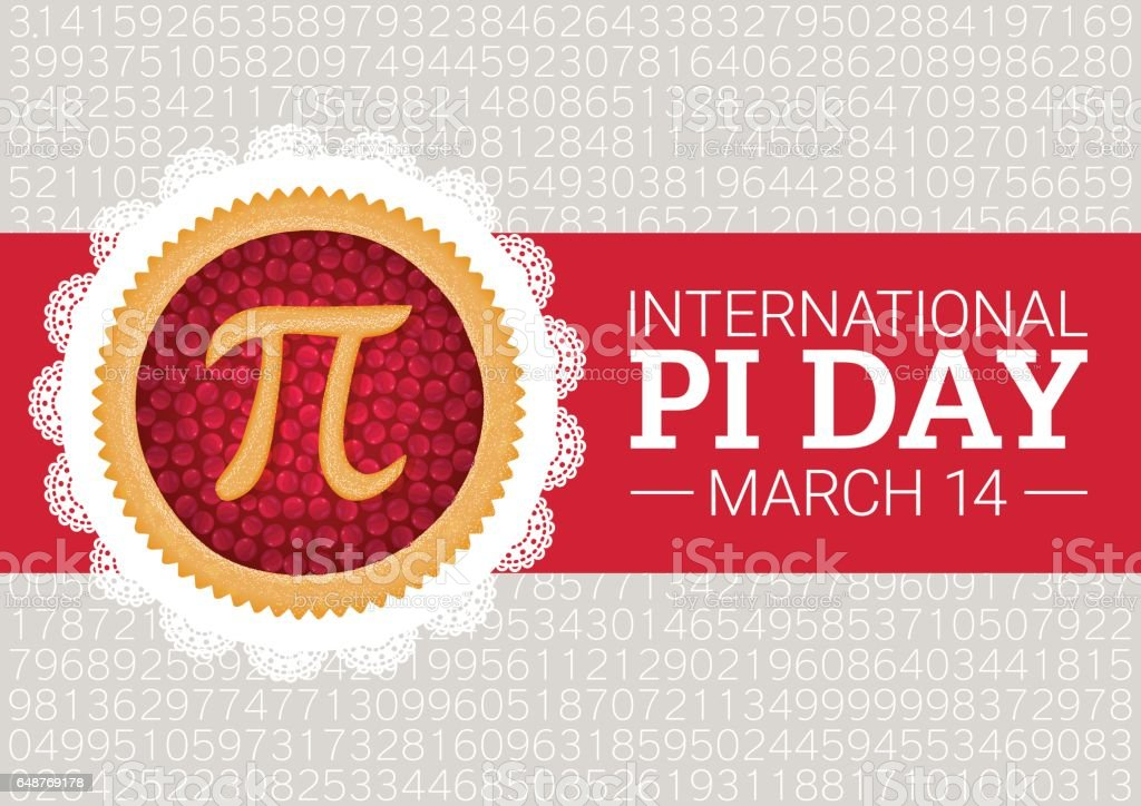 Pi Day vector background. Baked cherry pie with Pi Symbol and ribbon. Mathematical constant, irrational number vector art illustration