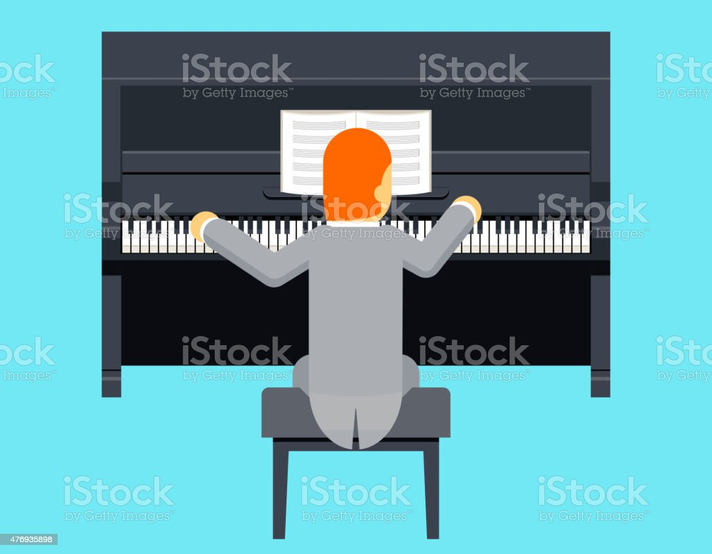 Pianist Piano Player Concept Character Flat Design on Stylish Background vector art illustration