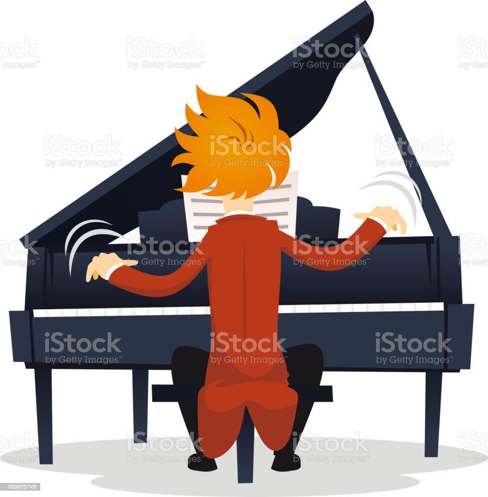 Pianist virtuoso vector art illustration